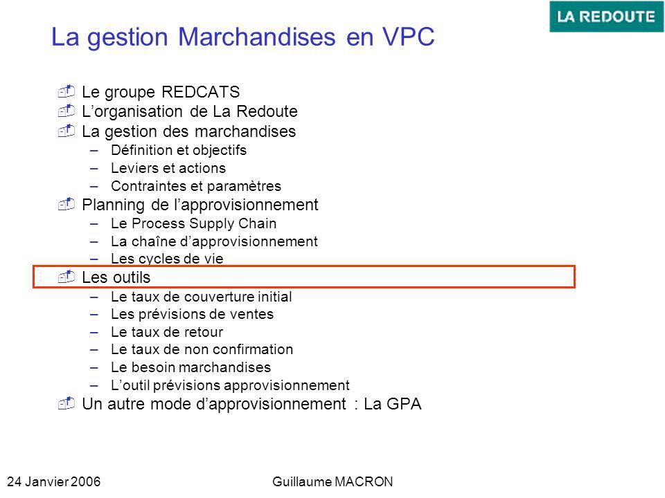 24 Janvier 2006Guillaume MACRON La gestion Marchandises en VPC Le groupe REDCATS Lorganisation de La Redoute La gestion des marchandises –Définition e