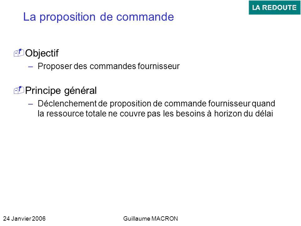 24 Janvier 2006Guillaume MACRON La proposition de commande Objectif –Proposer des commandes fournisseur Principe général –Déclenchement de proposition