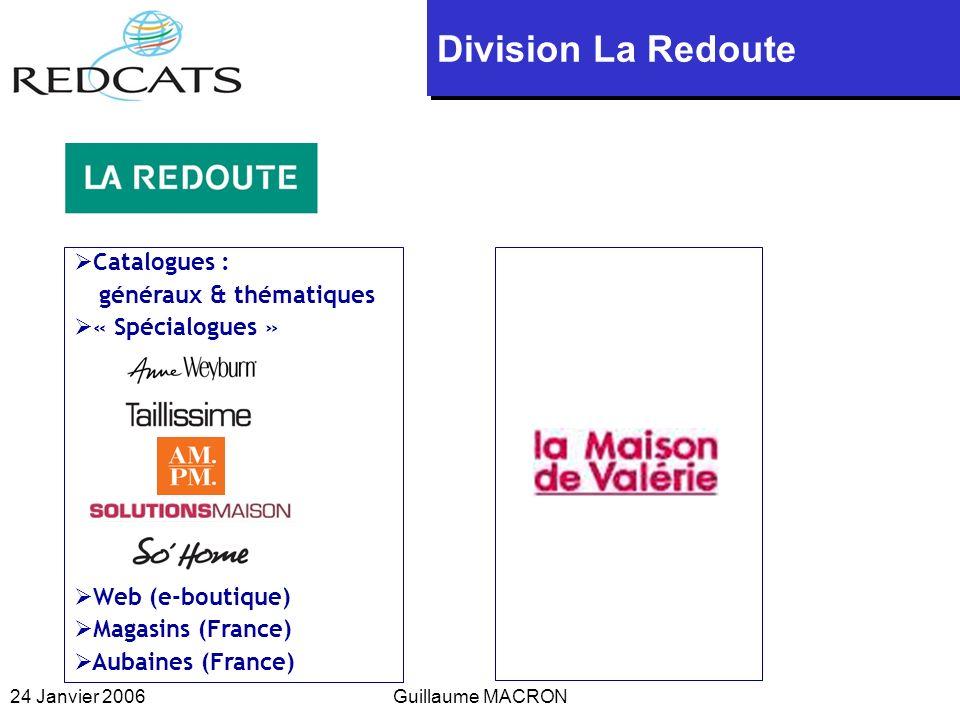 24 Janvier 2006Guillaume MACRON Catalogues : généraux & thématiques « Spécialogues » Web (e-boutique) Magasins (France) Aubaines (France) Division La