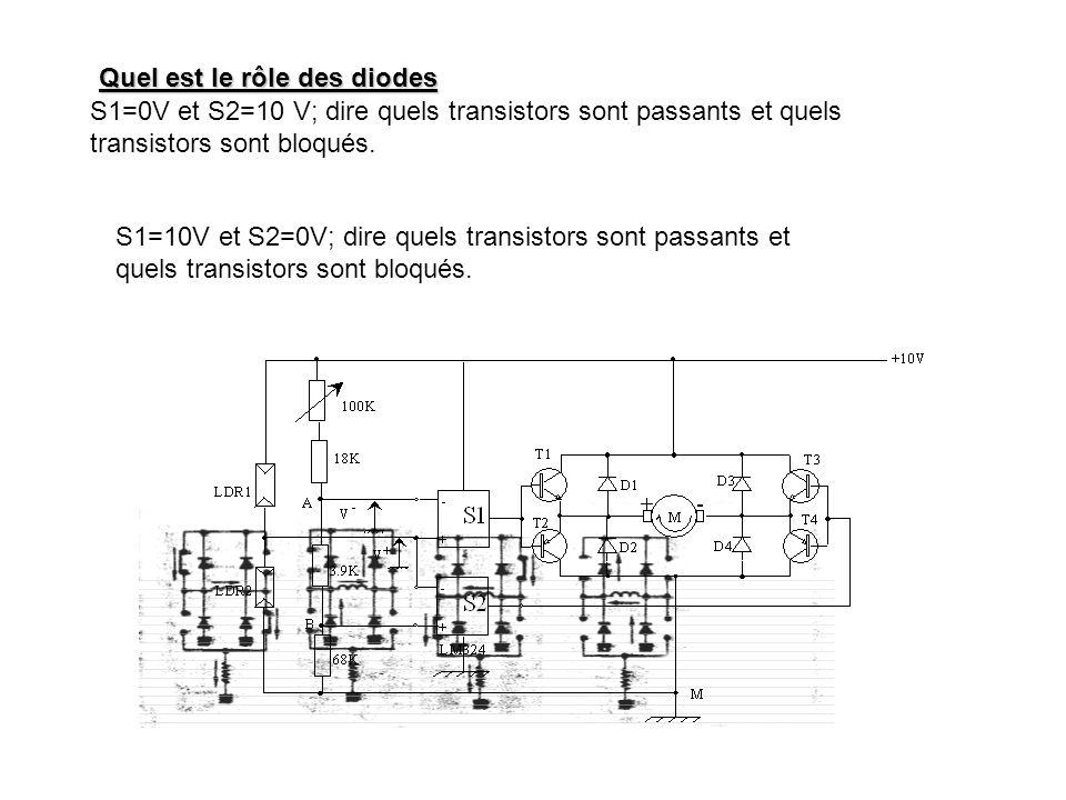 S1=0V et S2=10 V; dire quels transistors sont passants et quels transistors sont bloqués. S1=10V et S2=0V; dire quels transistors sont passants et que