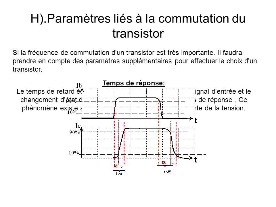 H).Paramètres liés à la commutation du transistor Si la fréquence de commutation d'un transistor est très importante. Il faudra prendre en compte des