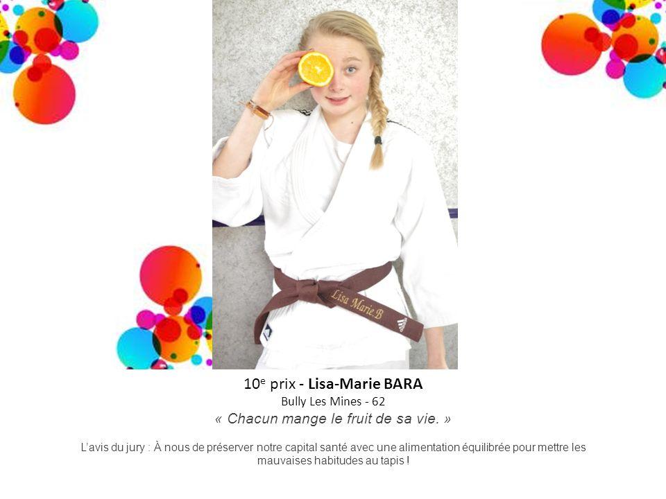 10 e prix - Lisa-Marie BARA Bully Les Mines - 62 « Chacun mange le fruit de sa vie. » Lavis du jury : À nous de préserver notre capital santé avec une