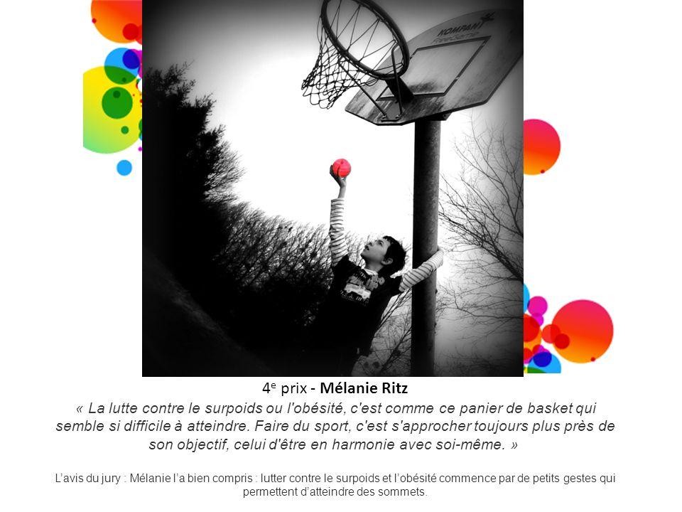 4 e prix - Mélanie Ritz « La lutte contre le surpoids ou l'obésité, c'est comme ce panier de basket qui semble si difficile à atteindre. Faire du spor