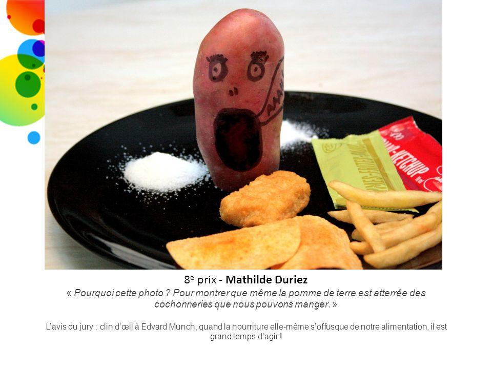 8 e prix - Mathilde Duriez « Pourquoi cette photo ? Pour montrer que même la pomme de terre est atterrée des cochonneries que nous pouvons manger. » L