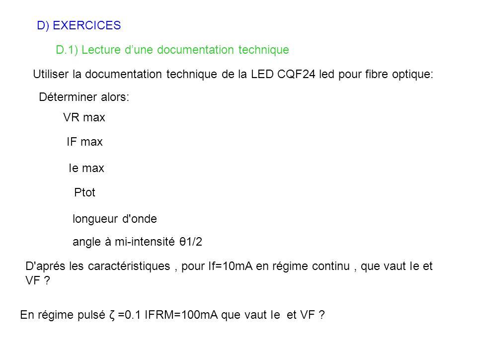 D) EXERCICES D.1) Lecture dune documentation technique Utiliser la documentation technique de la LED CQF24 led pour fibre optique: Déterminer alors: V