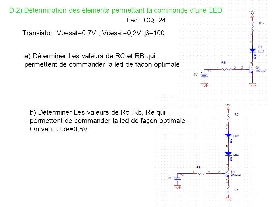 D.2) Détermination des éléments permettant la commande dune LED Led: CQF24 Transistor :Vbesat=0.7V ; Vcesat=0,2V ;β=100 a) Déterminer Les valeurs de R