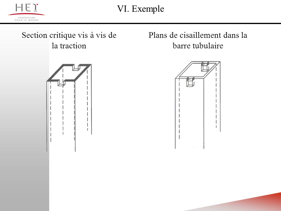 VI. Exemple Section critique vis à vis de la traction Plans de cisaillement dans la barre tubulaire
