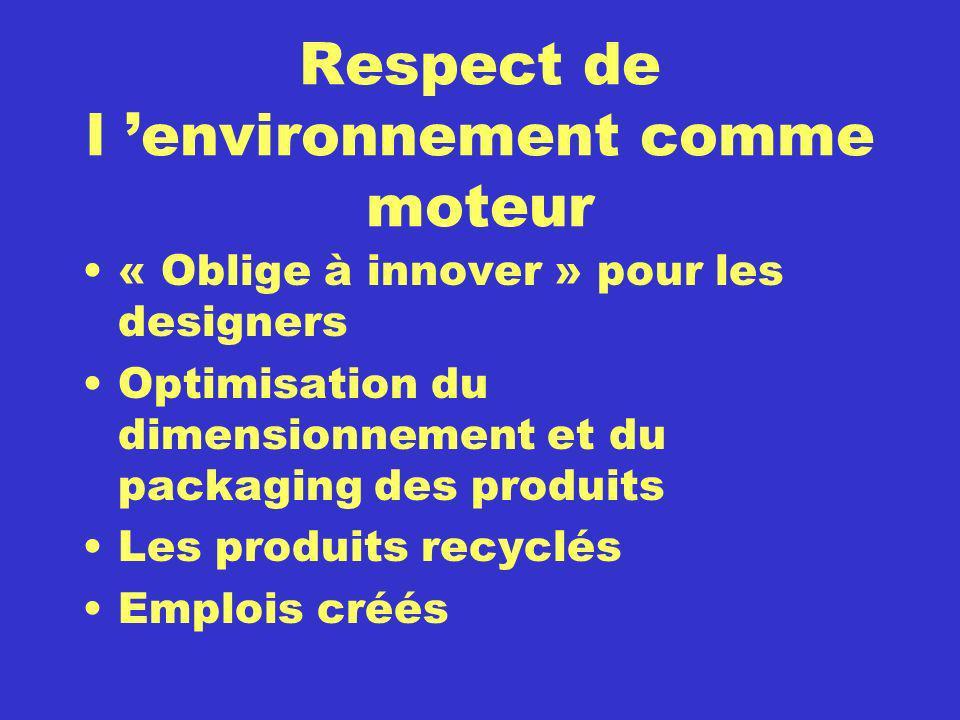 Respect de l environnement comme moteur « Oblige à innover » pour les designers Optimisation du dimensionnement et du packaging des produits Les produ