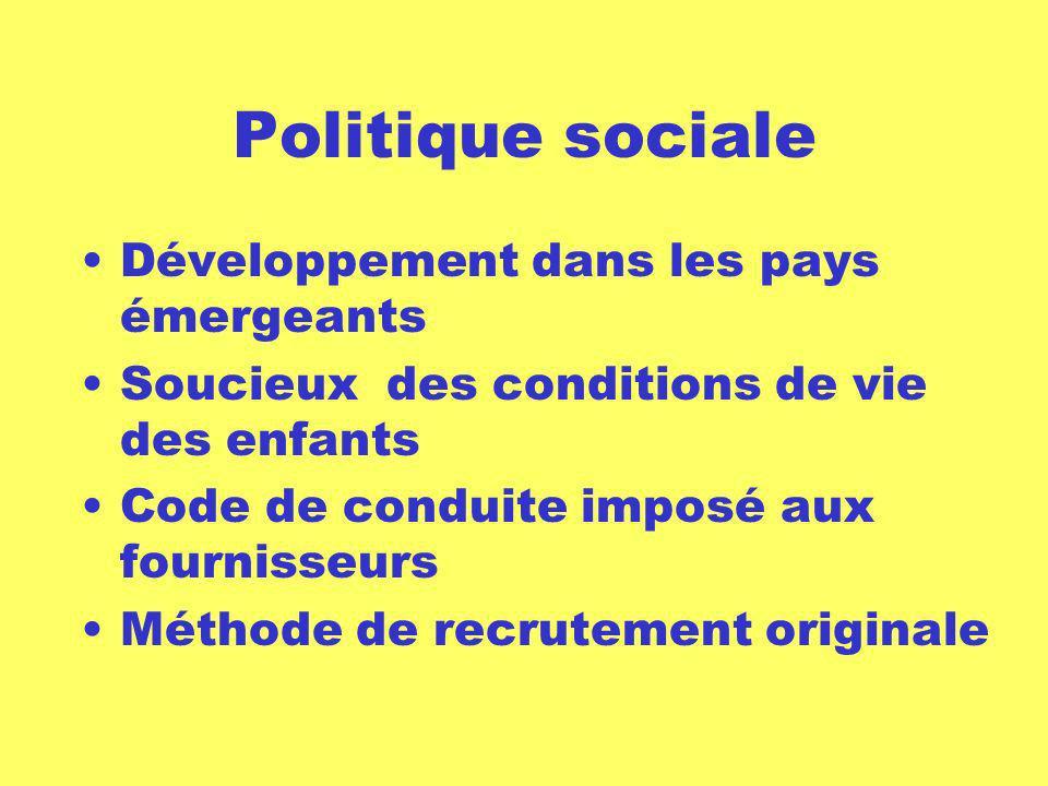 Politique sociale Développement dans les pays émergeants Soucieux des conditions de vie des enfants Code de conduite imposé aux fournisseurs Méthode d