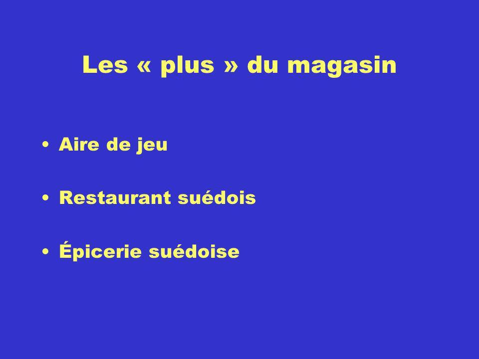 Les « plus » du magasin Aire de jeu Restaurant suédois Épicerie suédoise