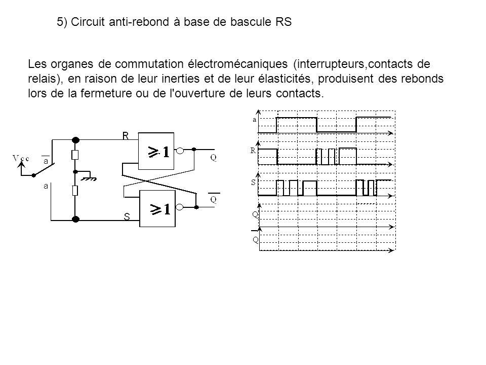 5) Circuit anti-rebond à base de bascule RS Les organes de commutation électromécaniques (interrupteurs,contacts de relais), en raison de leur inerties et de leur élasticités, produisent des rebonds lors de la fermeture ou de l ouverture de leurs contacts.