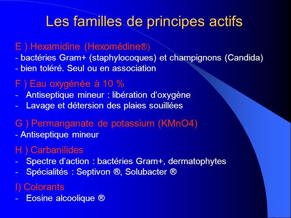 Les familles de principes actifs E ) Hexamidine (Hexomédine ®) - bactéries Gram+ (staphylocoques) et champignons (Candida) - bien toléré.