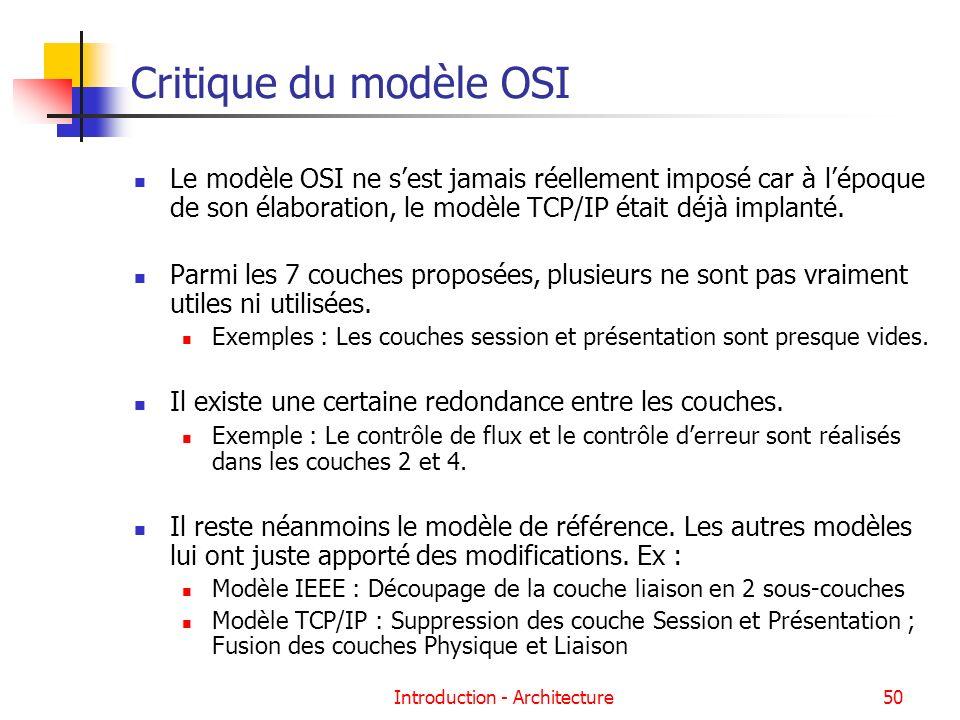 Introduction - Architecture50 Critique du modèle OSI Le modèle OSI ne sest jamais réellement imposé car à lépoque de son élaboration, le modèle TCP/IP