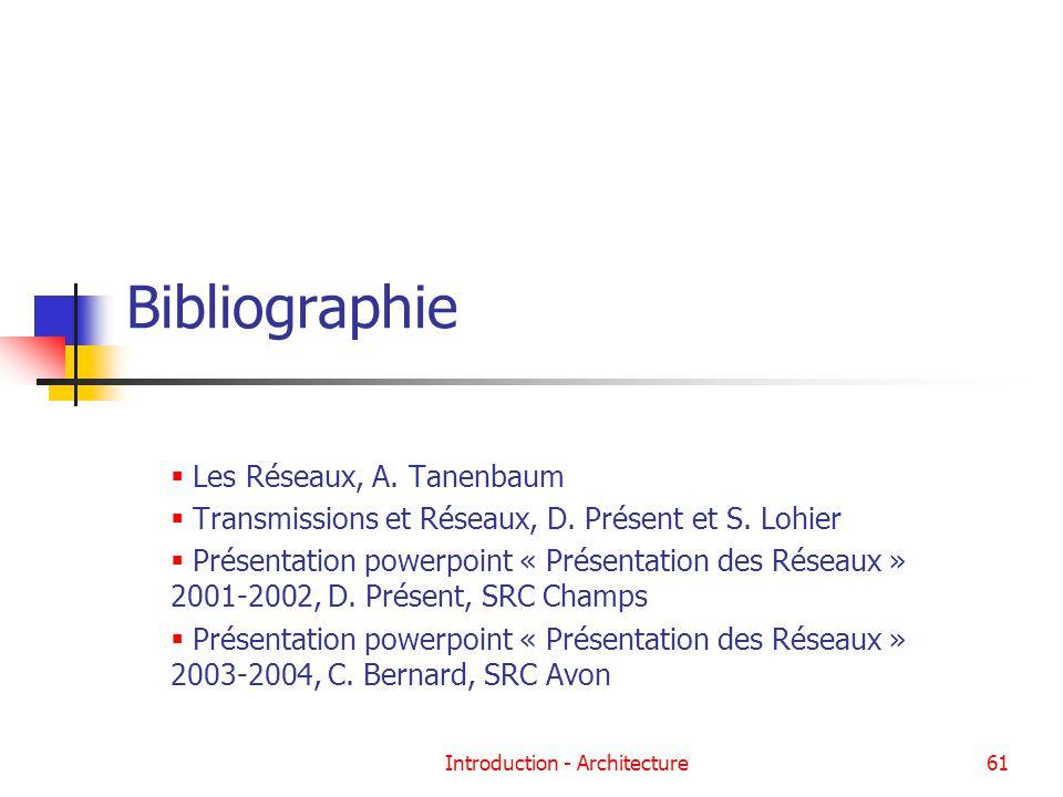 Introduction - Architecture61 Bibliographie Les Réseaux, A. Tanenbaum Transmissions et Réseaux, D. Présent et S. Lohier Présentation powerpoint « Prés
