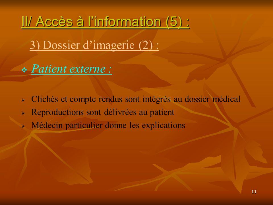 11 Patient externe : Clichés et compte rendus sont intégrés au dossier médical Reproductions sont délivrées au patient Médecin particulier donne les e