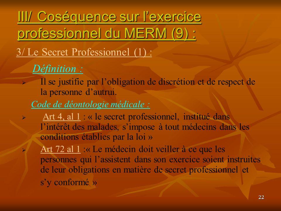 22 Définition : Il se justifie par lobligation de discrétion et de respect de la personne dautrui. Code de déontologie médicale : Art 4, al 1 : « le s