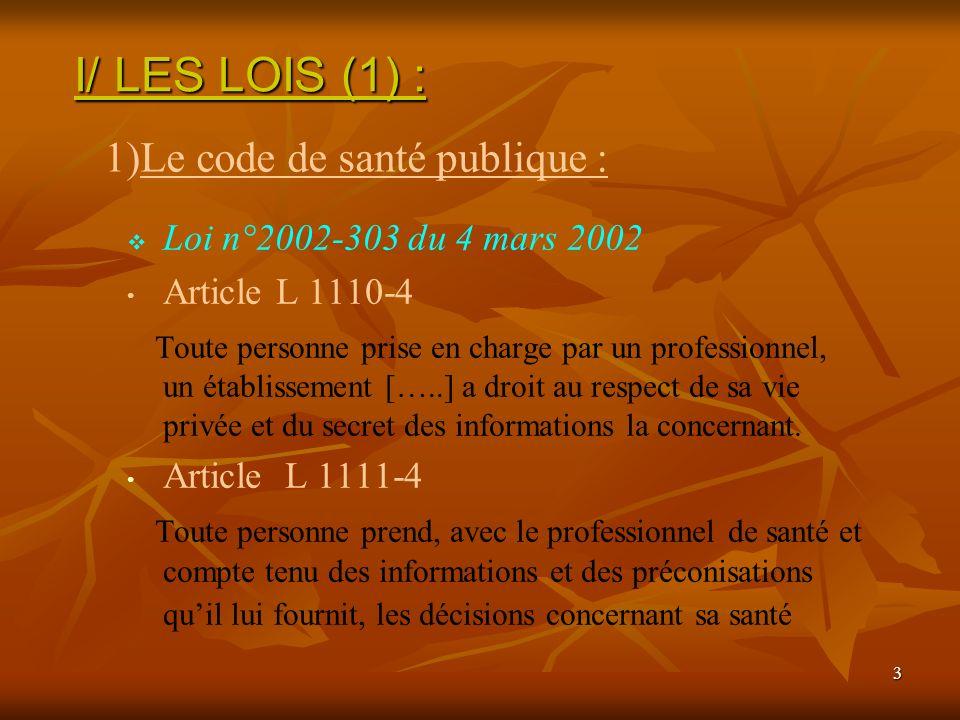 3 Loi n°2002-303 du 4 mars 2002 Article L 1110-4 Toute personne prise en charge par un professionnel, un établissement […..] a droit au respect de sa