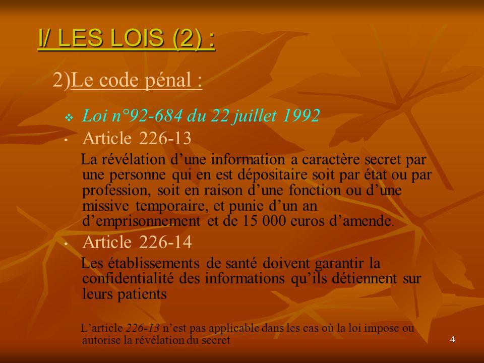 4 Loi n°92-684 du 22 juillet 1992 Article 226-13 La révélation dune information a caractère secret par une personne qui en est dépositaire soit par ét