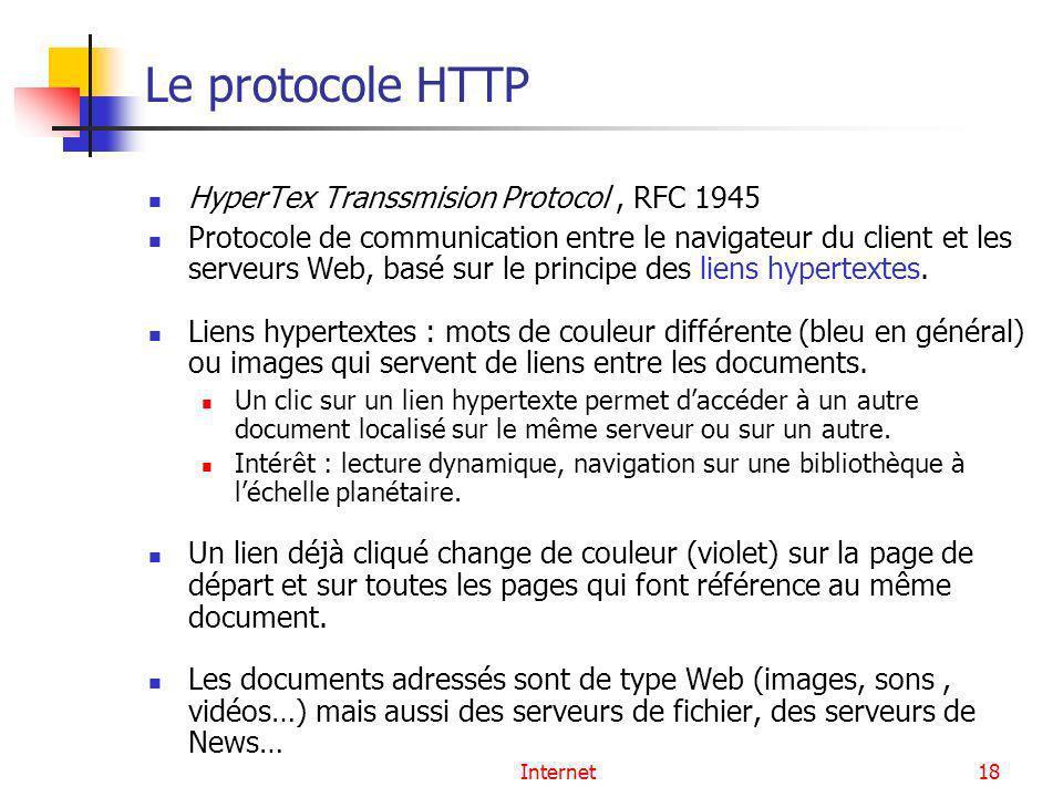 Internet18 Le protocole HTTP HyperTex Transsmision Protocol, RFC 1945 Protocole de communication entre le navigateur du client et les serveurs Web, ba