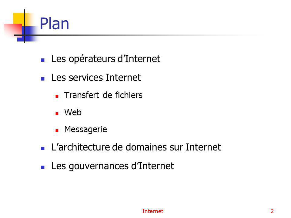 Internet2 Plan Les opérateurs dInternet Les services Internet Transfert de fichiers Web Messagerie Larchitecture de domaines sur Internet Les gouverna