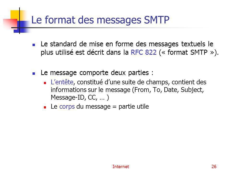 Internet26 Le format des messages SMTP Le standard de mise en forme des messages textuels le plus utilisé est décrit dans la RFC 822 (« format SMTP »)