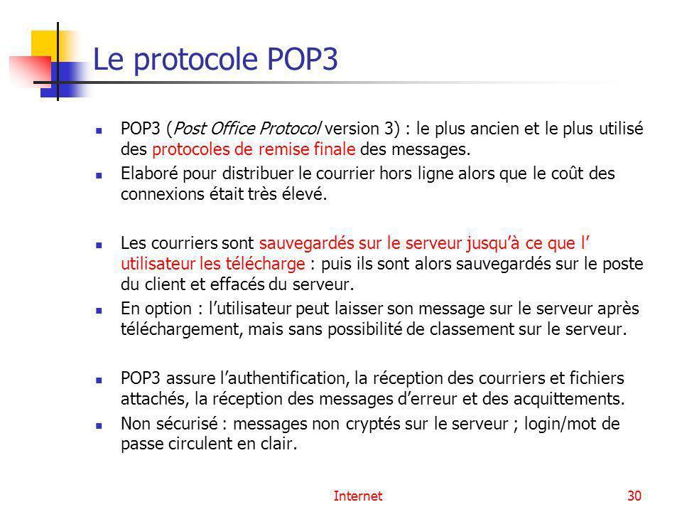 Internet30 Le protocole POP3 POP3 (Post Office Protocol version 3) : le plus ancien et le plus utilisé des protocoles de remise finale des messages. E