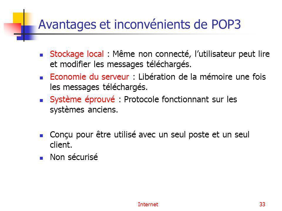 Internet33 Avantages et inconvénients de POP3 Stockage local : Même non connecté, lutilisateur peut lire et modifier les messages téléchargés. Economi