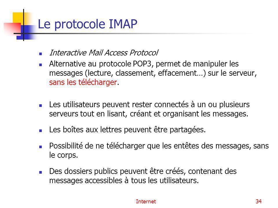 Internet34 Le protocole IMAP Interactive Mail Access Protocol Alternative au protocole POP3, permet de manipuler les messages (lecture, classement, ef