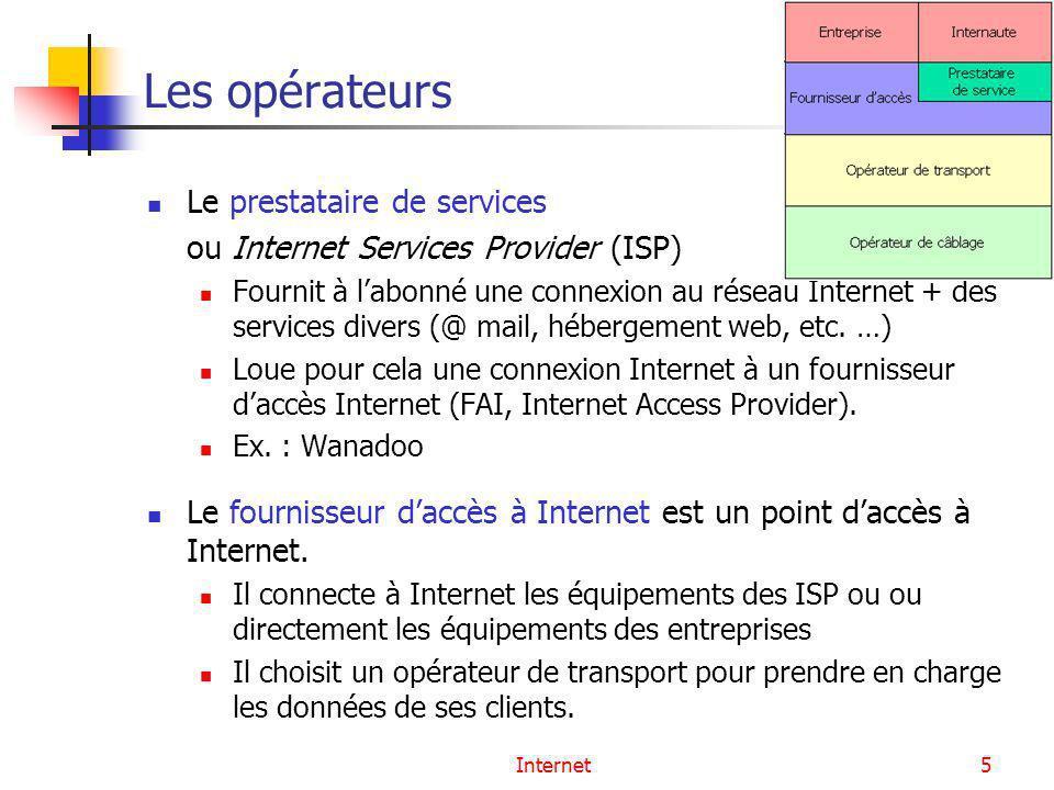 Internet5 Les opérateurs Le prestataire de services ou Internet Services Provider (ISP) Fournit à labonné une connexion au réseau Internet + des servi