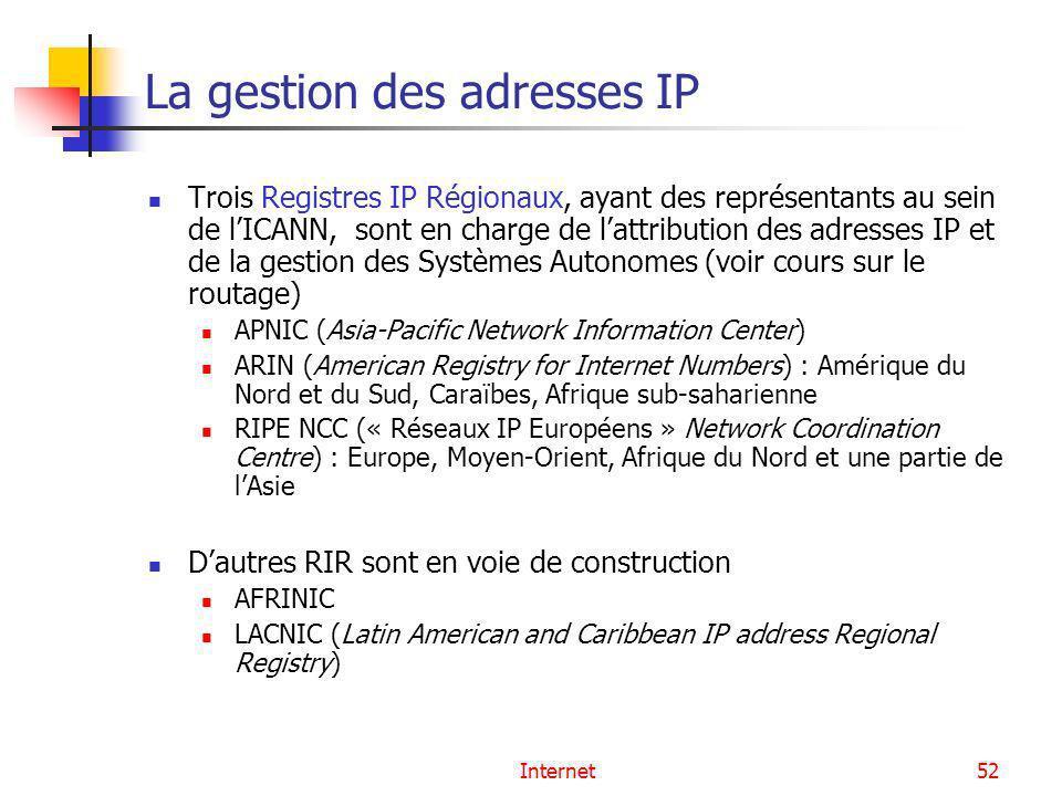 Internet52 La gestion des adresses IP Trois Registres IP Régionaux, ayant des représentants au sein de lICANN, sont en charge de lattribution des adre