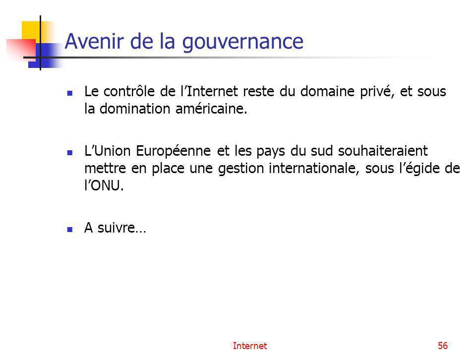 Internet56 Avenir de la gouvernance Le contrôle de lInternet reste du domaine privé, et sous la domination américaine. LUnion Européenne et les pays d