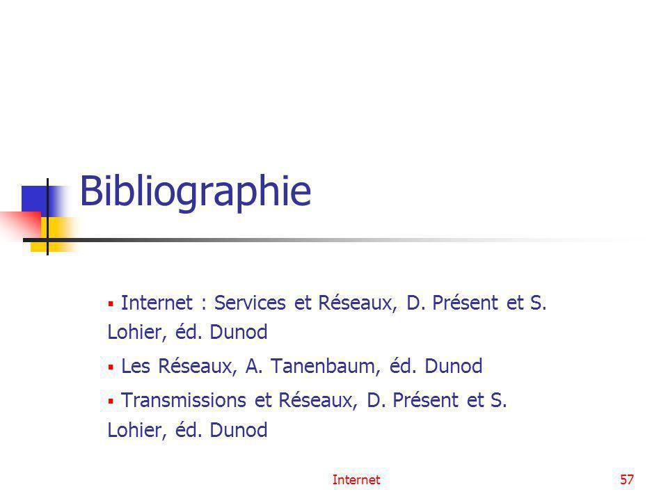 Internet57 Bibliographie Internet : Services et Réseaux, D. Présent et S. Lohier, éd. Dunod Les Réseaux, A. Tanenbaum, éd. Dunod Transmissions et Rése