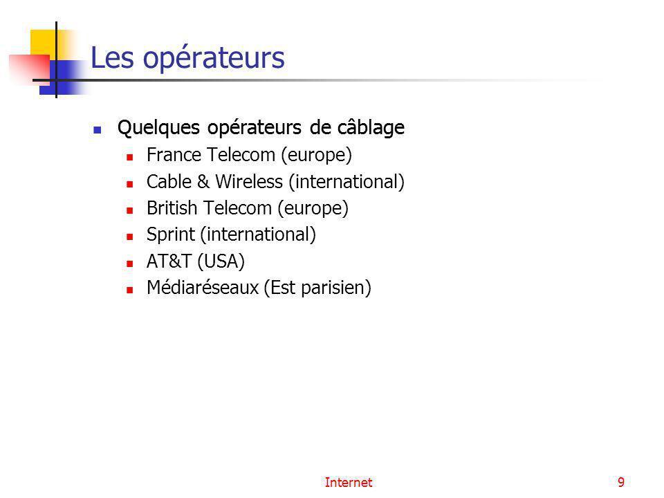 Internet9 Les opérateurs Quelques opérateurs de câblage France Telecom (europe) Cable & Wireless (international) British Telecom (europe) Sprint (inte