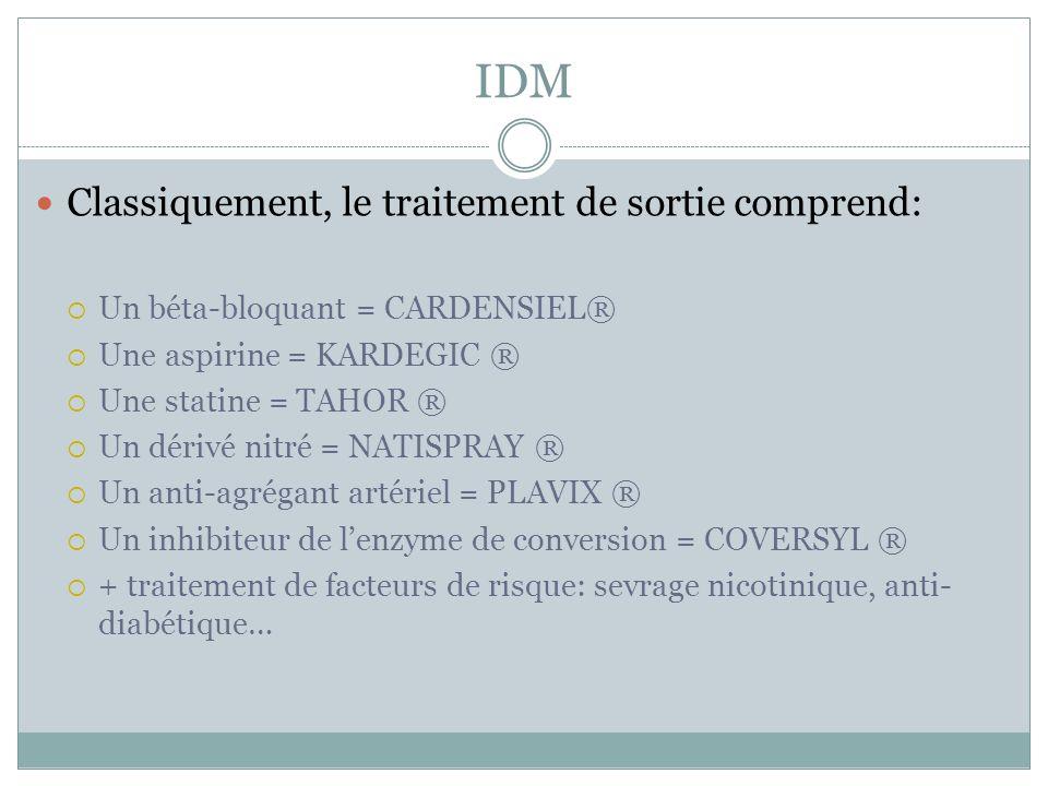IDM Classiquement, le traitement de sortie comprend: Un béta-bloquant = CARDENSIEL® Une aspirine = KARDEGIC ® Une statine = TAHOR ® Un dérivé nitré =