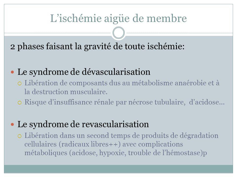Lischémie aigüe de membre 2 phases faisant la gravité de toute ischémie: Le syndrome de dévascularisation Libération de composants dus au métabolisme anaérobie et à la destruction musculaire.