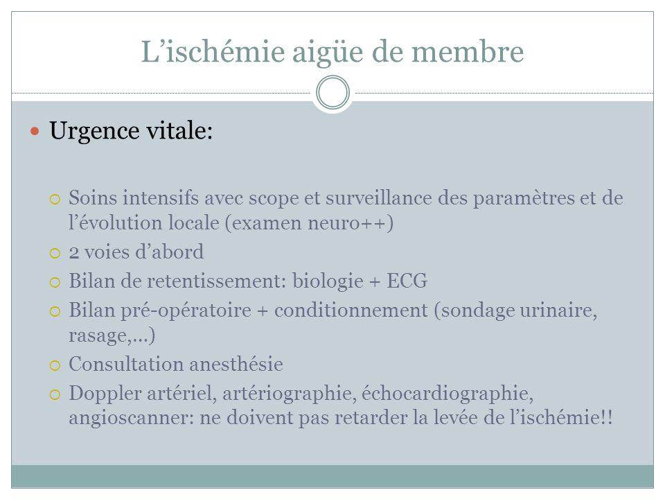 Urgence vitale: Soins intensifs avec scope et surveillance des paramètres et de lévolution locale (examen neuro++) 2 voies dabord Bilan de retentissem