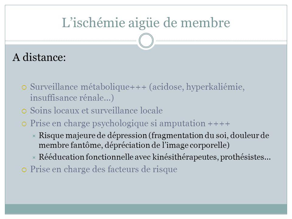 A distance: Surveillance métabolique+++ (acidose, hyperkaliémie, insuffisance rénale…) Soins locaux et surveillance locale Prise en charge psychologiq