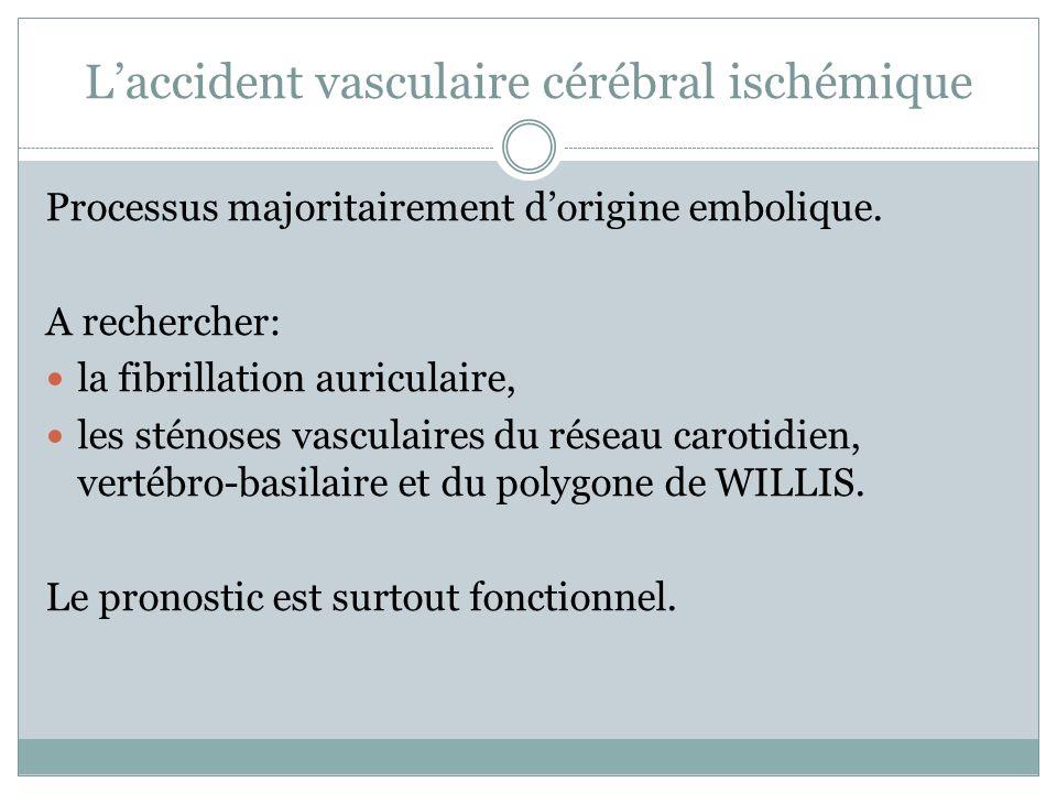 Laccident vasculaire cérébral ischémique Processus majoritairement dorigine embolique. A rechercher: la fibrillation auriculaire, les sténoses vascula