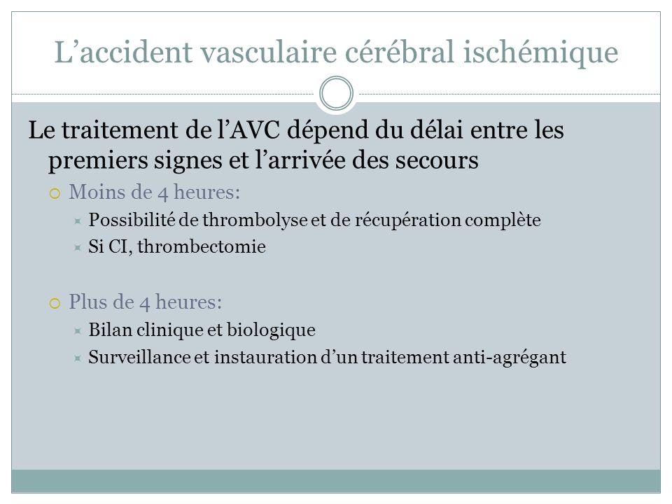 Laccident vasculaire cérébral ischémique Le traitement de lAVC dépend du délai entre les premiers signes et larrivée des secours Moins de 4 heures: Po