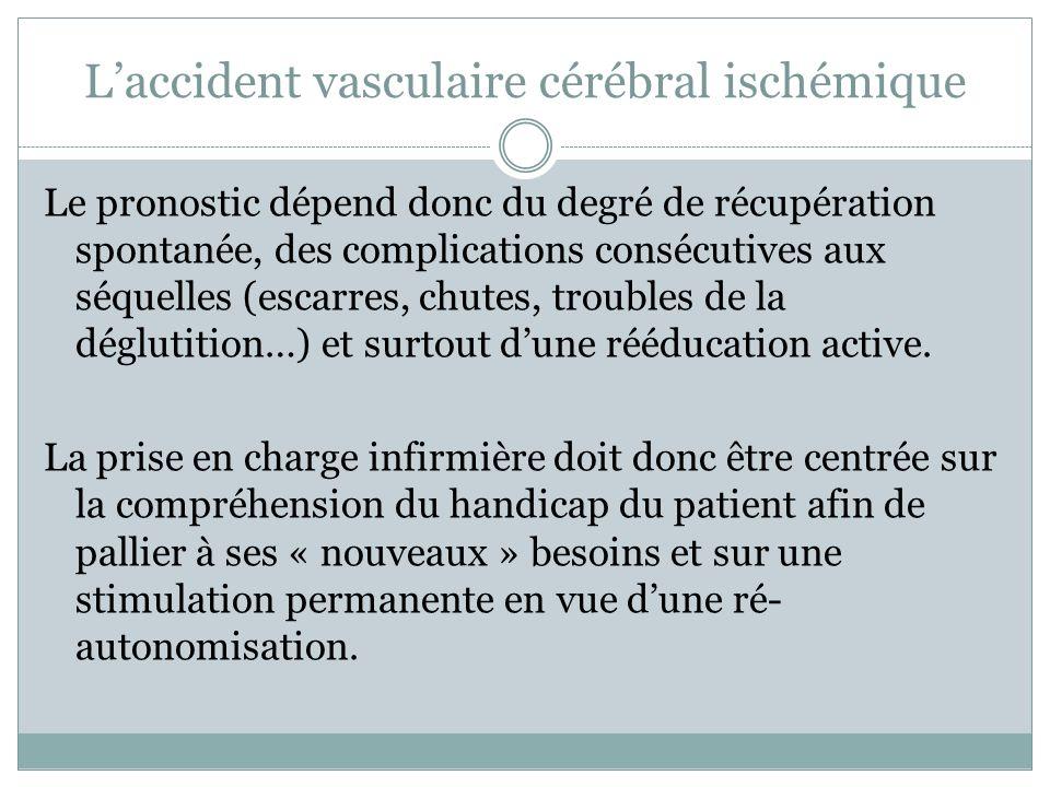 Laccident vasculaire cérébral ischémique Le pronostic dépend donc du degré de récupération spontanée, des complications consécutives aux séquelles (es