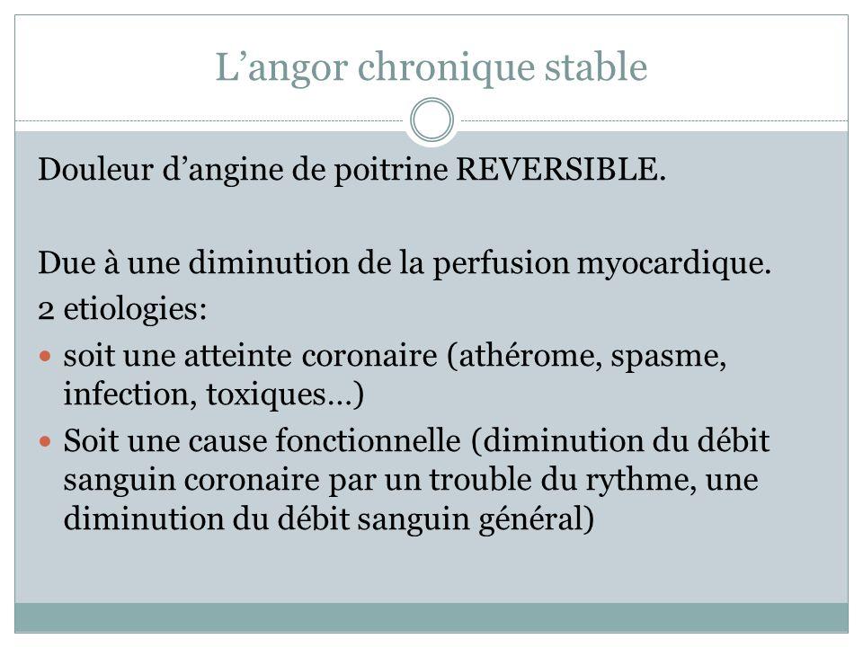 Langor chronique stable Douleur dangine de poitrine REVERSIBLE. Due à une diminution de la perfusion myocardique. 2 etiologies: soit une atteinte coro