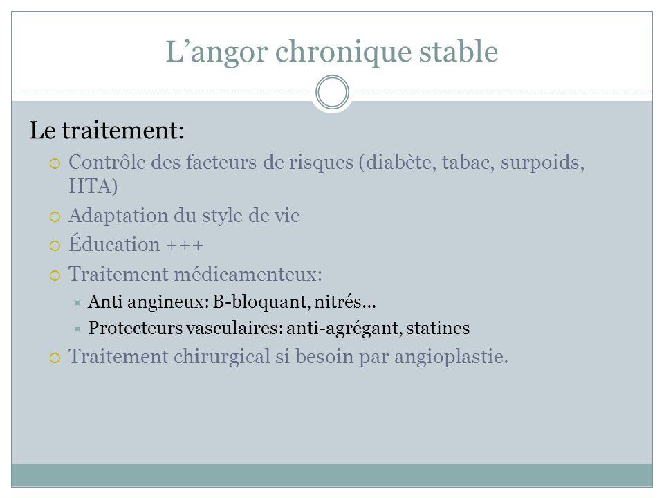 Langor chronique stable Le traitement: Contrôle des facteurs de risques (diabète, tabac, surpoids, HTA) Adaptation du style de vie Éducation +++ Trait