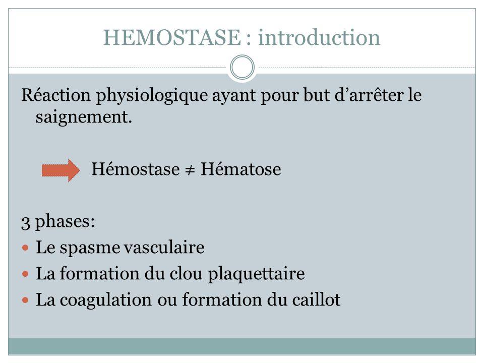 HEMOSTASE : introduction Réaction physiologique ayant pour but darrêter le saignement. Hémostase Hématose 3 phases: Le spasme vasculaire La formation