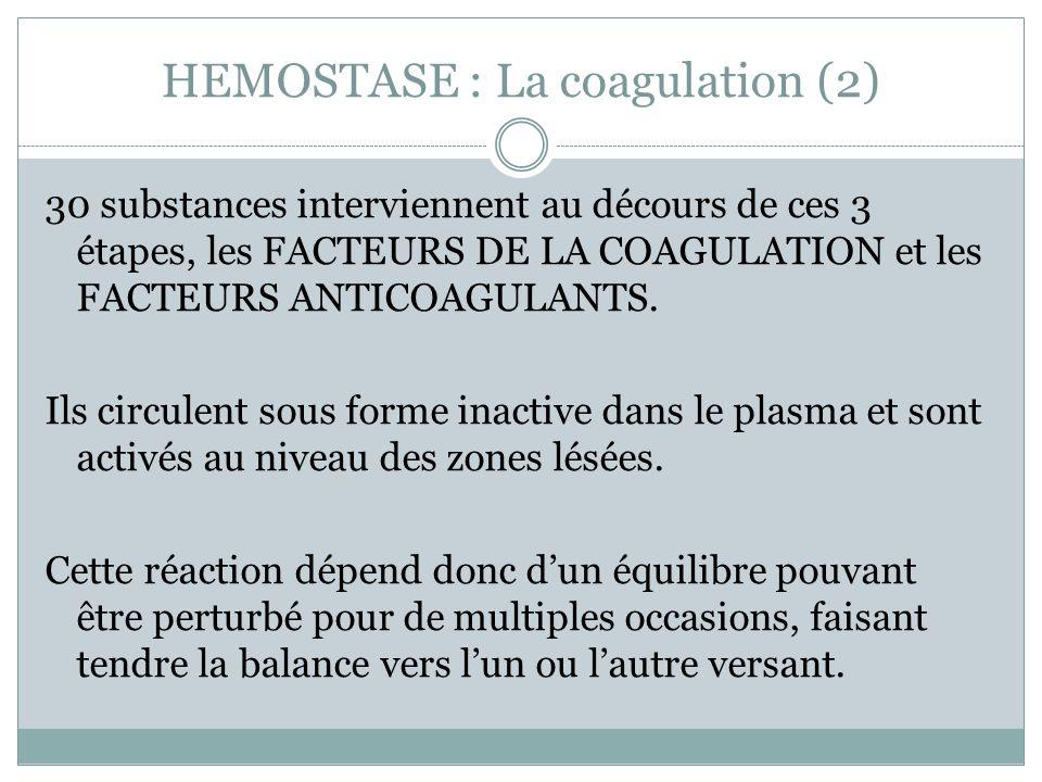 HEMOSTASE : La coagulation (2) 30 substances interviennent au décours de ces 3 étapes, les FACTEURS DE LA COAGULATION et les FACTEURS ANTICOAGULANTS.