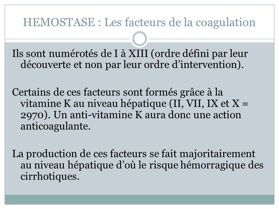 HEMOSTASE : Les facteurs de la coagulation Ils sont numérotés de I à XIII (ordre défini par leur découverte et non par leur ordre dintervention).