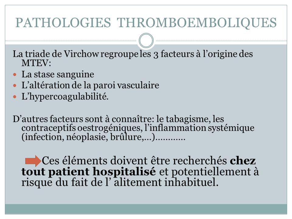 PATHOLOGIES THROMBOEMBOLIQUES La triade de Virchow regroupe les 3 facteurs à lorigine des MTEV: La stase sanguine Laltération de la paroi vasculaire Lhypercoagulabilité.