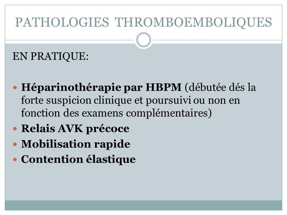PATHOLOGIES THROMBOEMBOLIQUES EN PRATIQUE: Héparinothérapie par HBPM (débutée dés la forte suspicion clinique et poursuivi ou non en fonction des exam