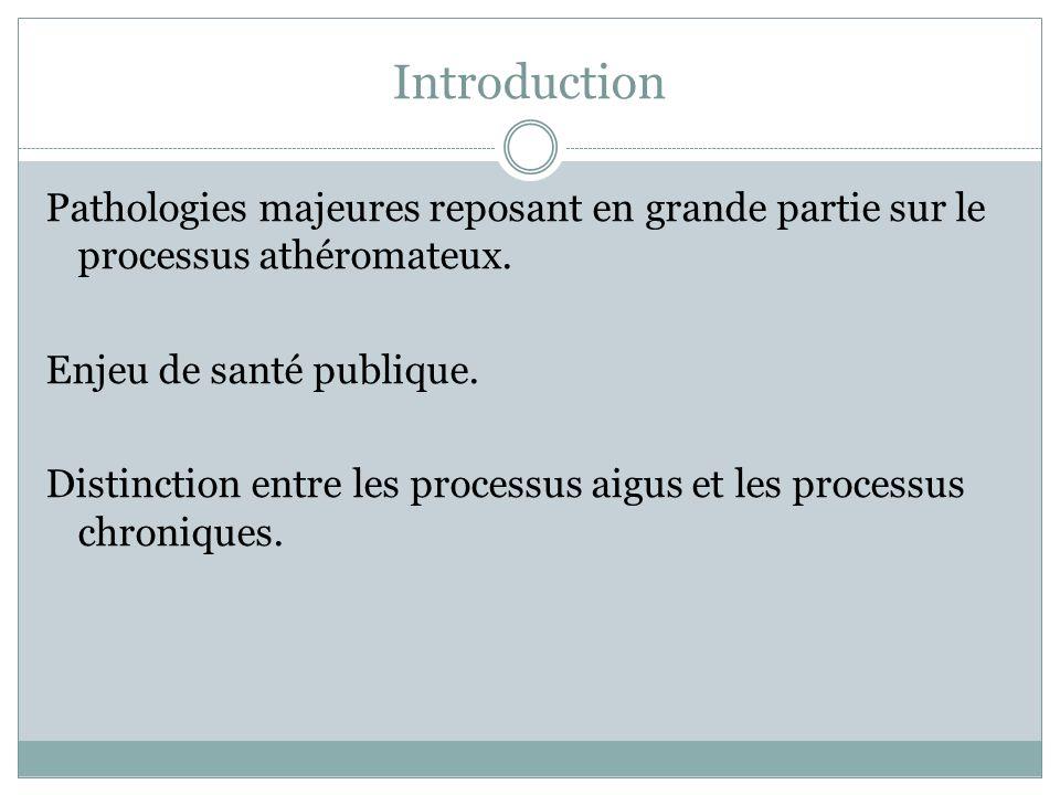 Introduction Pathologies majeures reposant en grande partie sur le processus athéromateux. Enjeu de santé publique. Distinction entre les processus ai