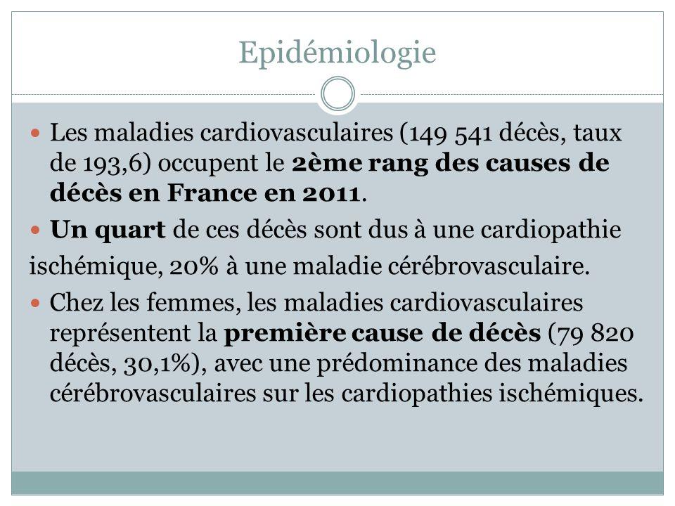 Epidémiologie Les maladies cardiovasculaires (149 541 décès, taux de 193,6) occupent le 2ème rang des causes de décès en France en 2011. Un quart de c
