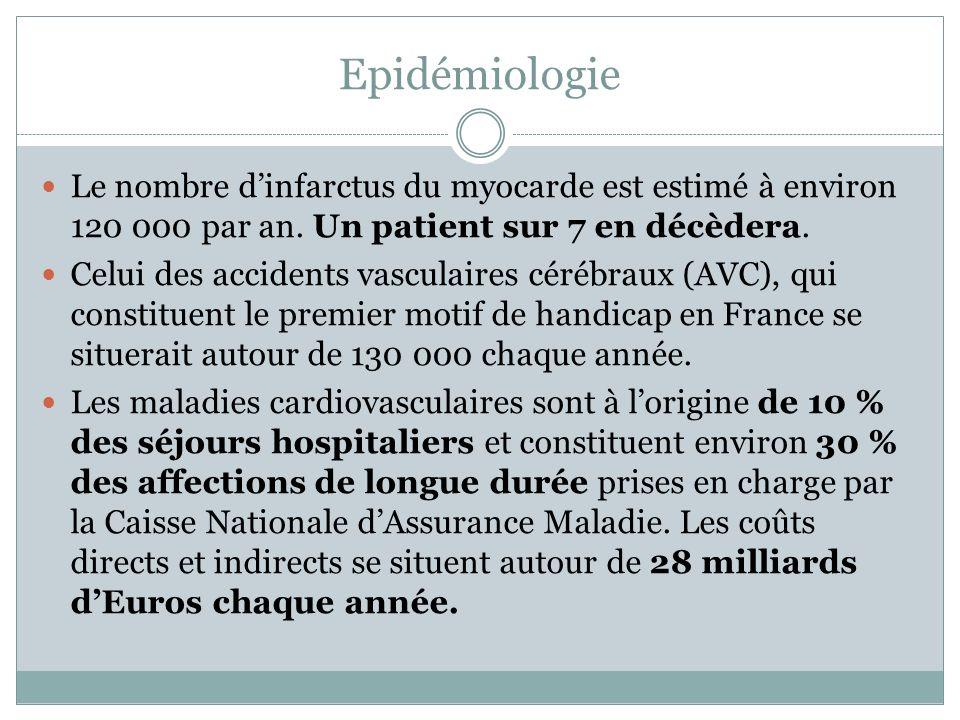 Epidémiologie Le nombre dinfarctus du myocarde est estimé à environ 120 000 par an. Un patient sur 7 en décèdera. Celui des accidents vasculaires céré